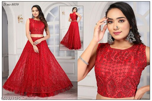 unique lady kc red gown lengha choli suit designed with heavy embrierodery work