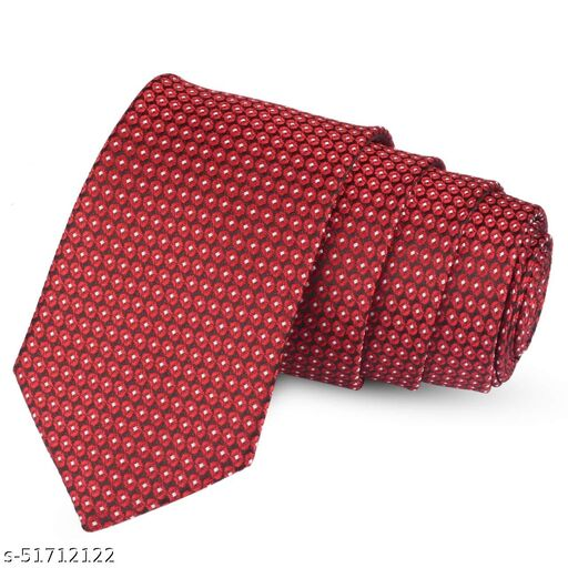 Panjatan Red Coloured Minea Patterned Microfiber Necktie for Men.…
