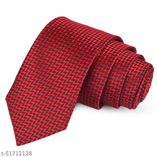 Panjatan Red Coloured ZigZag Patterned Microfiber Necktie for Men.…