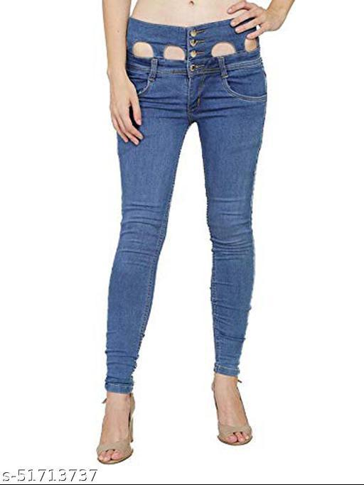 Luxsis Women Slim Fit High Waist Bata Blue Jeans 1411
