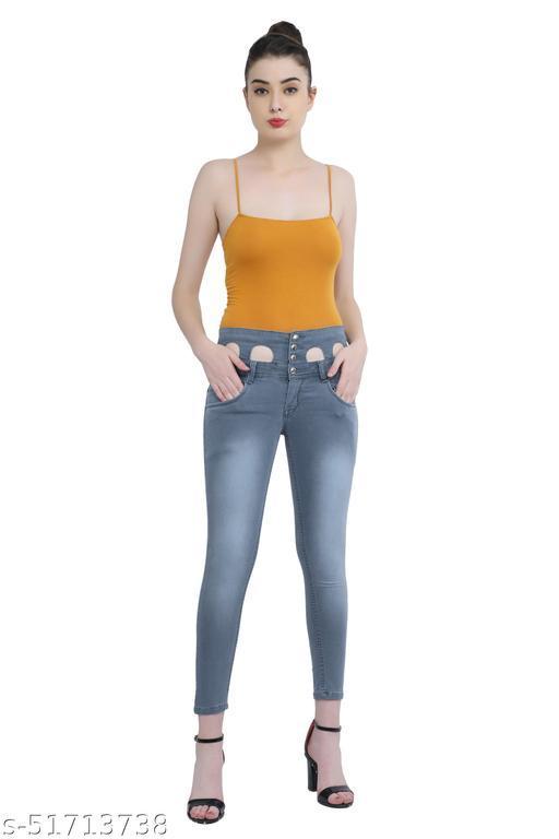 Luxsis Women Slim Fit High Waist Grey Jeans 1411