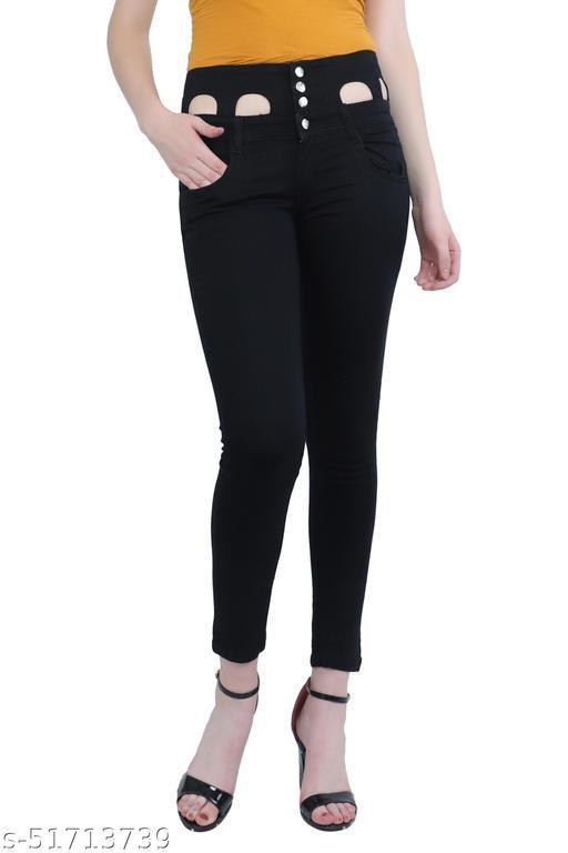 Luxsis Women Slim Fit High Waist Black Jeans 1411
