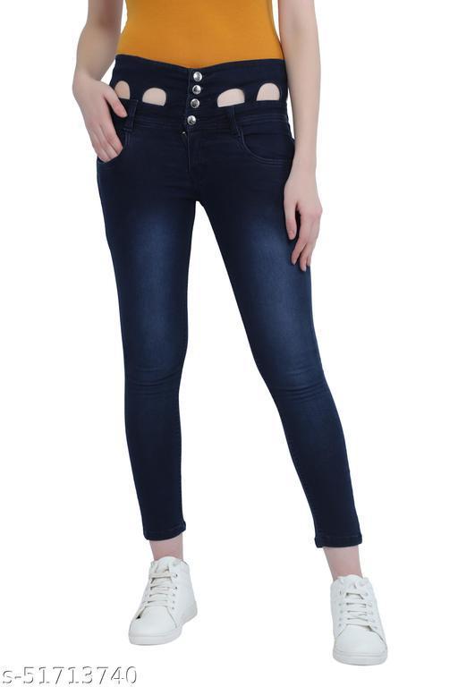 Luxsis Women Slim Fit High Waist Naviblue Jeans 1411