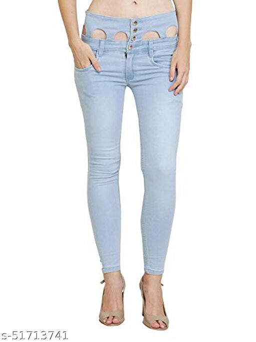 Luxsis Women Slim Fit High Waist Blue Jeans 1411