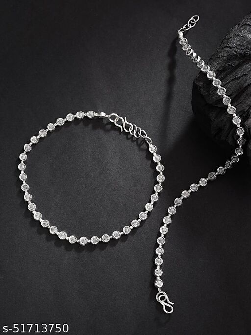 Oxidised Silver Circular Pattern Handcrafted Anklets For Girls & Women 2 Pcs