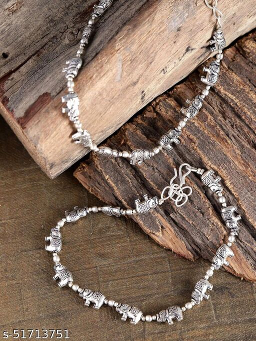 Oxidised Silver Elephant Inspired Anklets For Girls & Women 2 Pcs