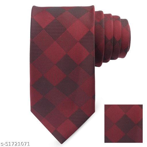 Panjatan Maroon Plaid Microfiber Necktie for Men (Width: 3 inch)…