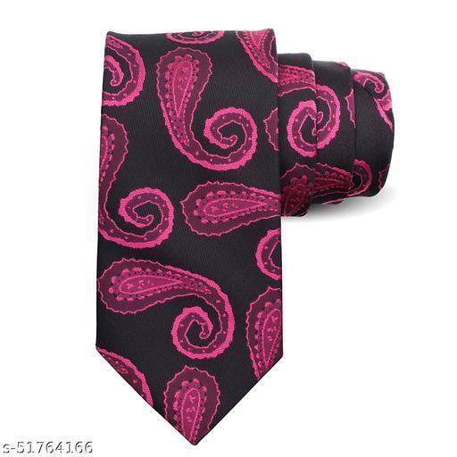 Panjatan Pink Coloured Blended Leaf Stencil Patterned Microfiber Necktie For Men.(Width-3 Inch)…