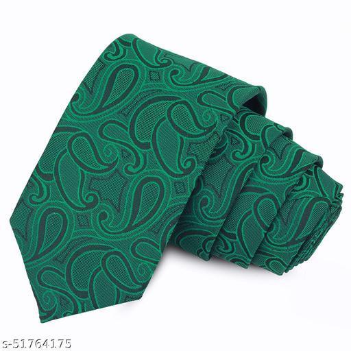 Panjatan Green Coloured Blend Paisley Modern Touch Microfiber Necktie For Men.(Width-3 Inch)…