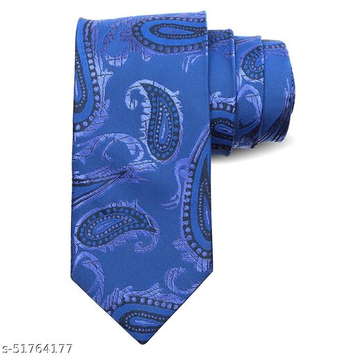 Panjatan Bright Blue Coloured Blend Paisley Modern Touch Microfiber Necktie For Men.(Width-3 Inch)…