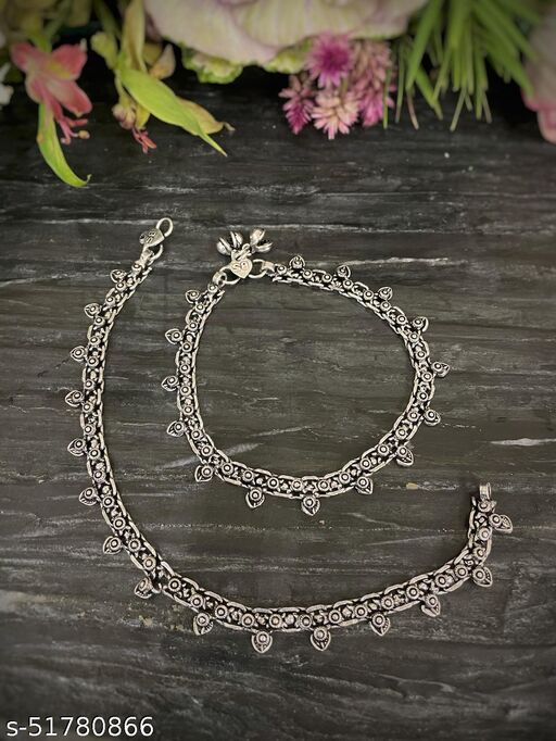 Anklets German Oxidised Silver Jewellery Payal Paijan Pazeb Silver Plating Antique Spade Design Latest Style Ethnic Traditional Foot Jewellery for Women and Girls