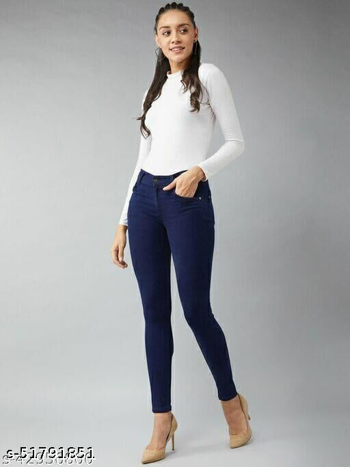WOMEN'S ANKLE LENGTH SKINNY FIT DENIM STYLISH SOLID JEANS