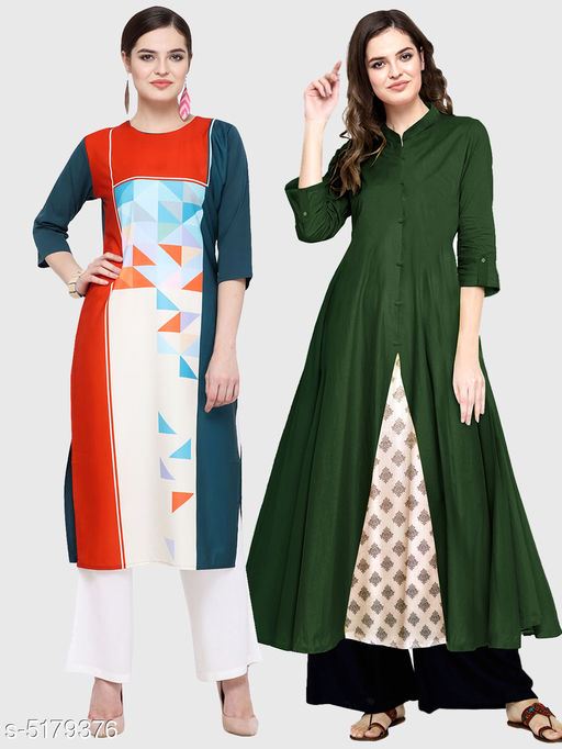 Kurtis & Kurtas Ella Stylish Women's Kurtis Combo  *Fabric* Cotton  *Sleeve Length* Three-Quarter Sleeves  *Pattern* Kurti 1 - Printed, Kurti 2 - Solid  *Combo of* Combo of 2  *Sizes*   *S (Bust Size* 36 in, Size Length  *XL (Bust Size* 42 in, Size Length  *L (Bust Size* 40 in, Size Length  *M (Bust Size* 38 in, Size Length  *XXL (Bust Size* 44 in, Size Length  *Color* Multicolor  *Sizes Available* S, M, L, XL, XXL   Supplier Rating: ★3.5 (11867) SKU: 111-128-DG Shipping charges: Rs1 (Non-refundable) Pkt. Weight Range: 250  Catalog Name: Ella Stylish Women's Kurtis Combo - Saanchi enterprises Code: 526-5179376--737