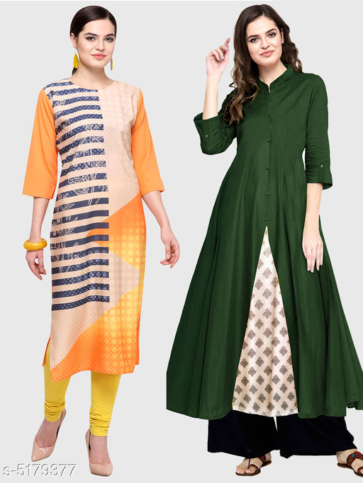 Kurtis & Kurtas Ella Stylish Women's Kurtis Combo  *Fabric* Cotton  *Sleeve Length* Three-Quarter Sleeves  *Pattern* Kurti 1 - Printed, Kurti 2 - Solid  *Combo of* Combo of 2  *Sizes*   *S (Bust Size* 36 in, Size Length  *XL (Bust Size* 42 in, Size Length  *L (Bust Size* 40 in, Size Length  *M (Bust Size* 38 in, Size Length  *XXL (Bust Size* 44 in, Size Length  *Color* Multicolor  *Sizes Available* S, M, L, XL, XXL   Supplier Rating: ★3.5 (11867) SKU: 113-128-DG Shipping charges: Rs1 (Non-refundable) Pkt. Weight Range: 250  Catalog Name: Ella Stylish Women's Kurtis Combo - Saanchi enterprises Code: 526-5179377--737