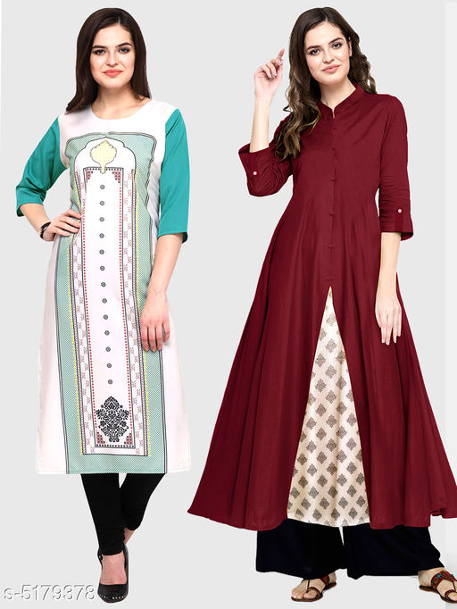 Kurtis & Kurtas Ella Stylish Women's Kurtis Combo  *Fabric* Cotton  *Sleeve Length* Three-Quarter Sleeves  *Pattern* Kurti 1 - Printed, Kurti 2 - Solid  *Combo of* Combo of 2  *Sizes*   *S (Bust Size* 36 in, Size Length  *XL (Bust Size* 42 in, Size Length  *L (Bust Size* 40 in, Size Length  *M (Bust Size* 38 in, Size Length  *XXL (Bust Size* 44 in, Size Length  *Color* Multicolor  *Sizes Available* S, M, L, XL, XXL   Supplier Rating: ★3.5 (11867) SKU: 112-128-M Shipping charges: Rs1 (Non-refundable) Pkt. Weight Range: 250  Catalog Name: Ella Stylish Women's Kurtis Combo - Saanchi enterprises Code: 526-5179378--737
