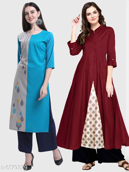 Kurtis & Kurtas Ella Stylish Women's Kurtis Combo  *Fabric* Cotton  *Sleeve Length* Three-Quarter Sleeves  *Pattern* Kurti 1 - Printed, Kurti 2 - Solid  *Combo of* Combo of 2  *Sizes*   *S (Bust Size* 36 in, Size Length  *XL (Bust Size* 42 in, Size Length  *L (Bust Size* 40 in, Size Length  *M (Bust Size* 38 in, Size Length  *XXL (Bust Size* 44 in, Size Length  *Color* Multicolor  *Sizes Available* S, M, L, XL, XXL   Supplier Rating: ★3.5 (11867) SKU: 110-128-M Shipping charges: Rs1 (Non-refundable) Pkt. Weight Range: 250  Catalog Name: Ella Stylish Women's Kurtis Combo - Saanchi enterprises Code: 526-5179379--737