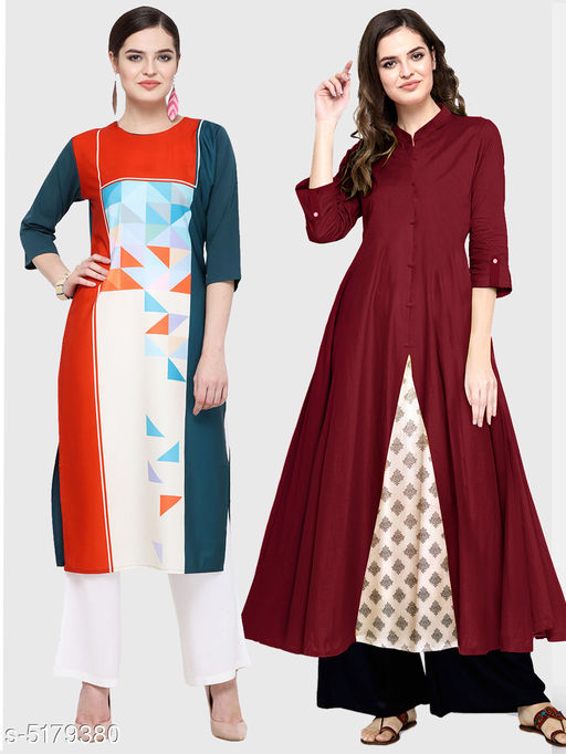 Kurtis & Kurtas Ella Stylish Women's Kurtis Combo  *Fabric* Cotton  *Sleeve Length* Three-Quarter Sleeves  *Pattern* Kurti 1 - Printed, Kurti 2 - Solid  *Combo of* Combo of 2  *Sizes*   *S (Bust Size* 36 in, Size Length  *XL (Bust Size* 42 in, Size Length  *L (Bust Size* 40 in, Size Length  *M (Bust Size* 38 in, Size Length  *XXL (Bust Size* 44 in, Size Length  *Color* Multicolor  *Sizes Available* S, M, L, XL, XXL   Supplier Rating: ★3.5 (11867) SKU: 111-128-M Shipping charges: Rs1 (Non-refundable) Pkt. Weight Range: 250  Catalog Name: Ella Stylish Women's Kurtis Combo - Saanchi enterprises Code: 526-5179380--737