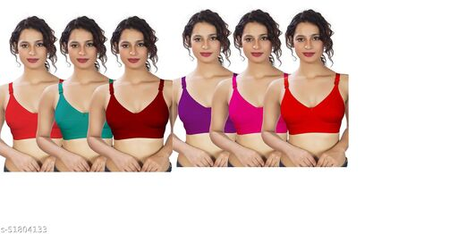 LX PRODUCTS women full coverage non-padded non-wired broad belt multicolour bra(pack of 6)