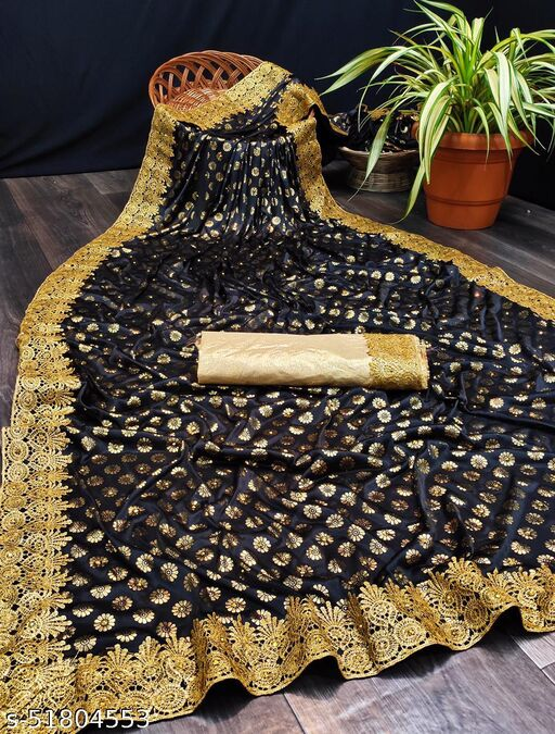 Fashion Lust Black Color Malai Silk Saree with Banglori Silk Blouse