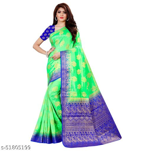 green blue kamjivaram silk brocade saree 2043