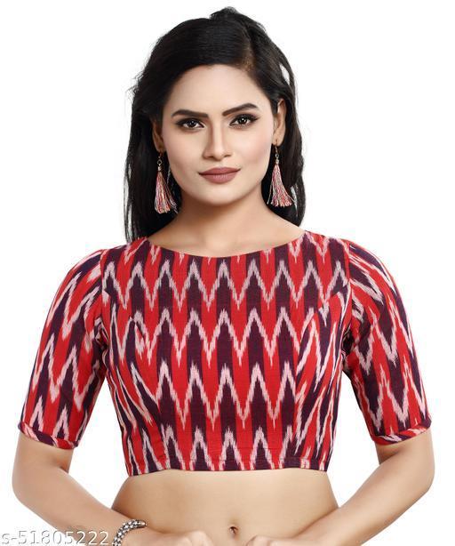 MADHU FASHION Cotton Ikat Print Readymade Saree Blouse