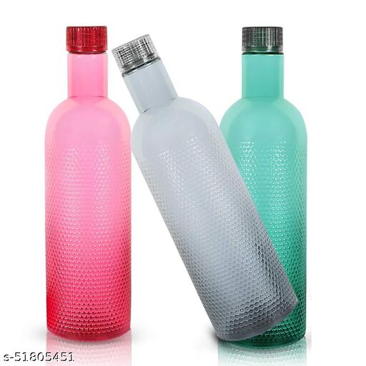 Plastic Water Bottle, 1000ml, Set Of 3, Multicolour
