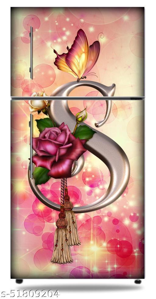 HD-letter-s-alphabet-butterfly-flowers-letter-letters-logo-pink-rose Fridge door skin