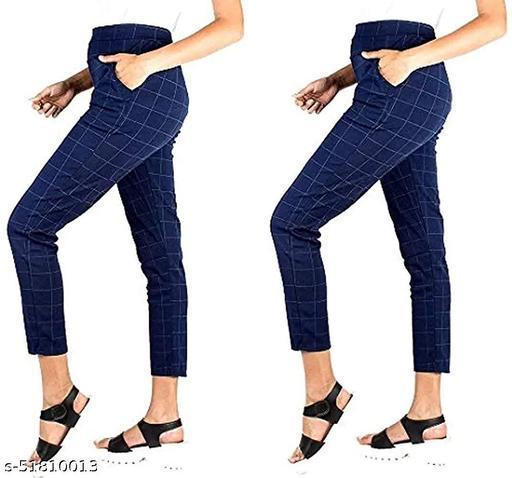 ZURBAA Women's & Girls Slim Fit Jeggings Check Types_ Pack of 2_Free Size BLUE & BLUE