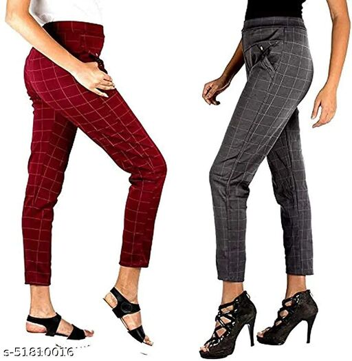 ZURBAA Women's & Girls Slim Fit Jeggings Check Types_ Pack of 2_Free Size MAROON & GREY