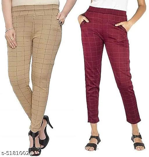 ZURBAA Women's & Girls Slim Fit Jeggings Check Types_ Pack of 2_Free Size BROWN & MAROON