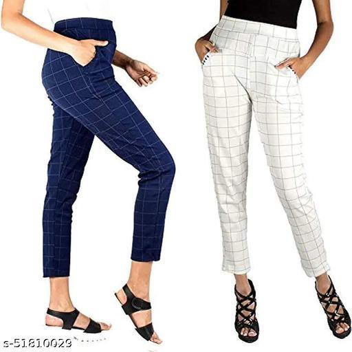ZURBAA Women's & Girls Slim Fit Jeggings Check Types_ Pack of 2_Free Size BLUE & WHITE