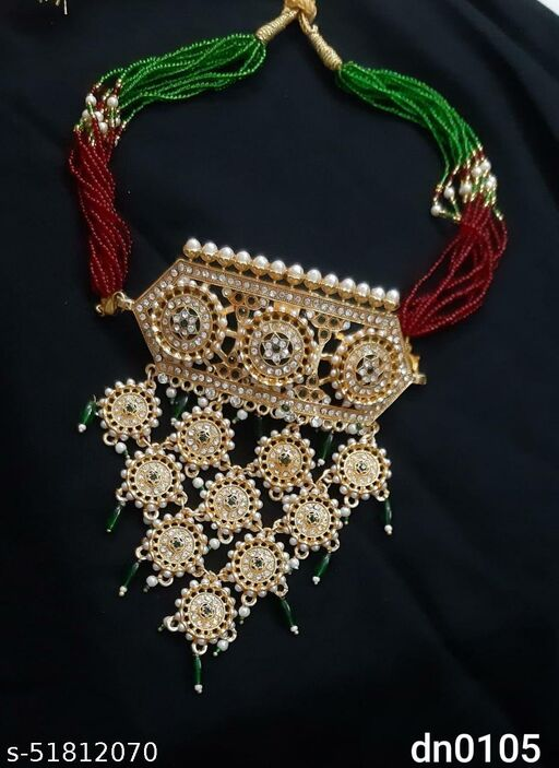 A trendy rajputi choker aad necklace for women Gold-plated Plated Brass Necklace
