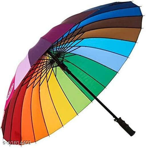 Amar enterprise 24 Ribs for Super-Strength -Windproof 60mph Extra Strong - Triple Layer Reinforced Frame with- Rainbow Canopy Umbrella Big Size Rainbow Super Strength, Extra Strong Straight Canopy Umbrella.