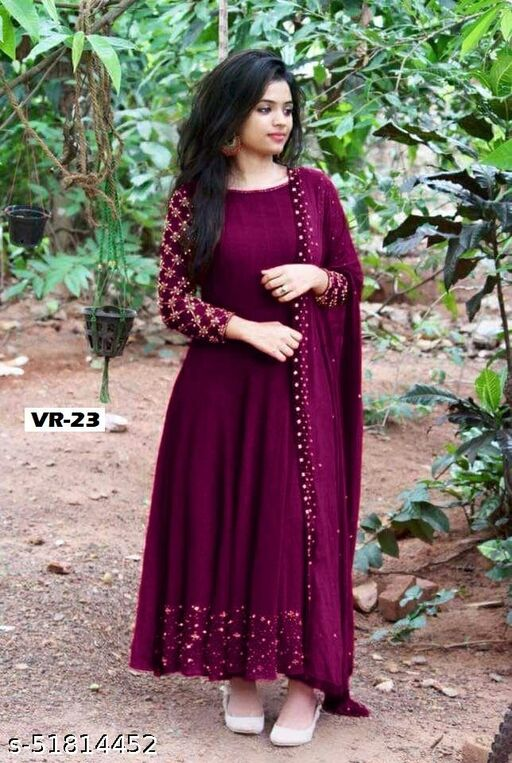 Fency Wine Color One Piece Gown With Beautiful Dupatta