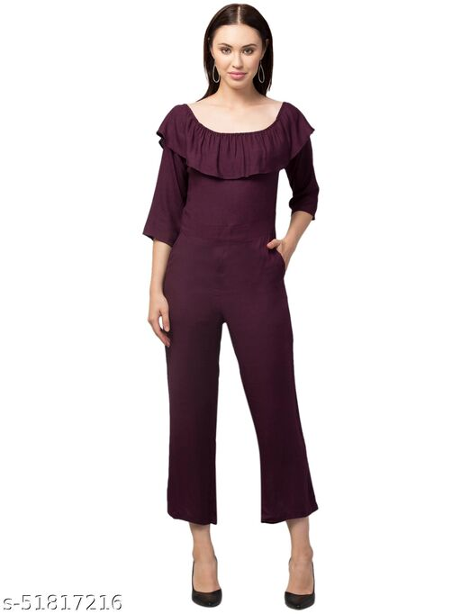 RIVA LVOE Women's Poly Crepe Jumpsuit (Brown)