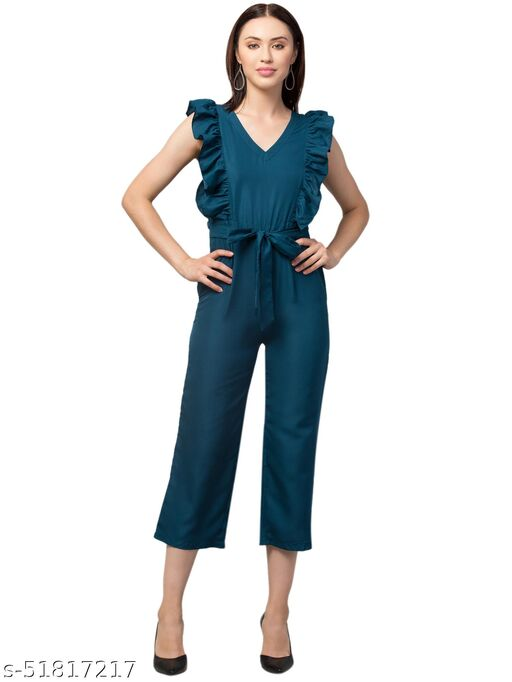 RIVA LVOE Women's Poly Crepe Maxi Jumpsuit (Teal)