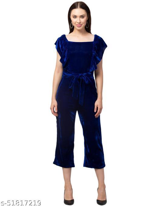 RIVA LOVE Women's Velvet Solid Jumpsuit (Royle Blue)