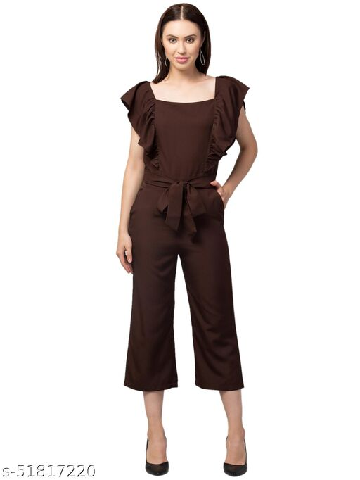 RIVA LVOE Women's Poly Crepe Maxi Jumpsuit (Brown)