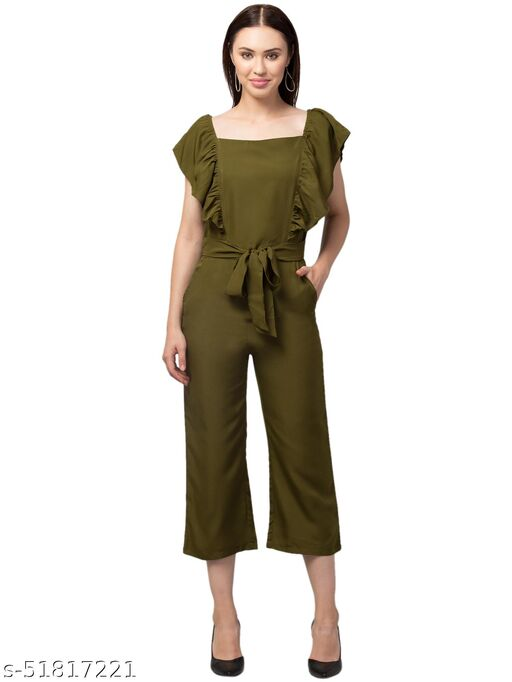 RIVA LVOE Women's Poly Crepe Maxi Jumpsuit (Olive)