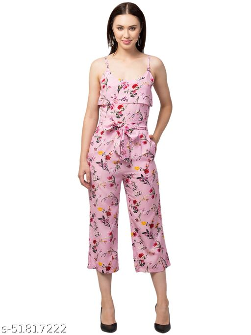 RIVA LOVE Women's Floral Printed Maxi Jumpsuit (Pink)
