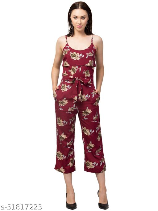 RIVA LOVE Women's Floral Printed Maxi Jumpsuit (Burgundy)