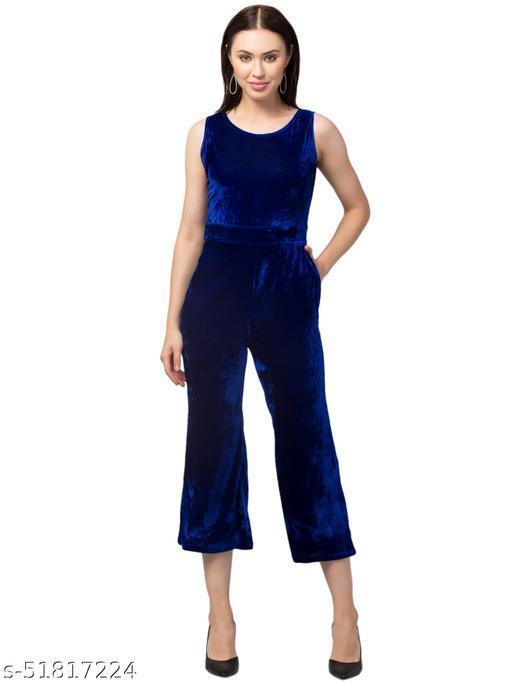 RIVA LOVE Women's Velvet Jumsuit (Royle Blue)