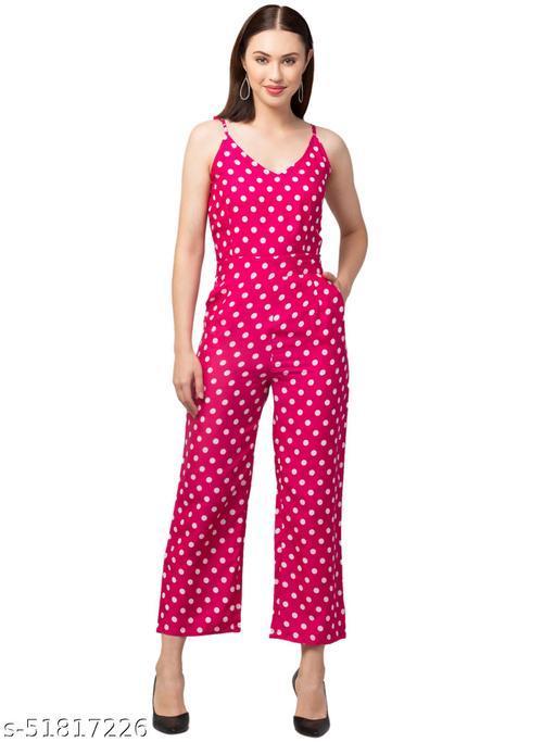 RIVA LOVE Women's Crepe Polka Dot Jumpsuit (Pink)
