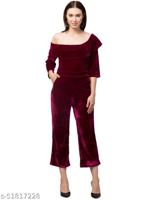 RIVA LOVE Women's Velvet Maxi Jumsuit (Maroon)