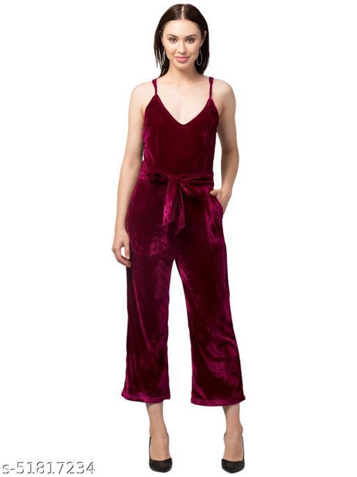 RIVA LOVE Women's A-line Velvet Maxi Jumsuit (Maroon)