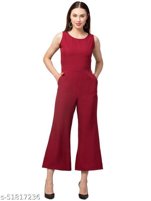 RIVA LOVE Women's Crepe Maxi Jumpsuit (Red)