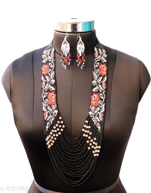 Handmade Multicolor Fancy Jewellery Necklace With Earrings.
