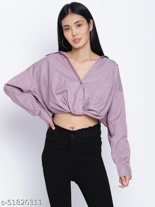 Tempted purple overlapped women crop shirt