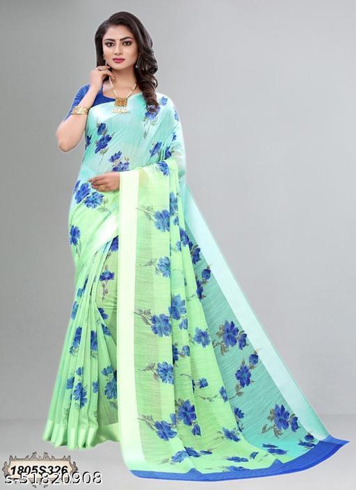 FLOWER PRINT SAREE (GREEN BLUE)