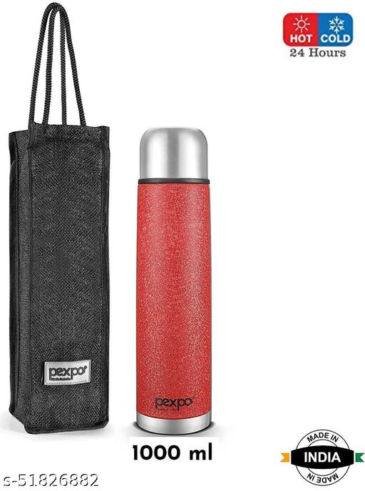 Pexpo Flamigo Hot & Cold 24 Hrs Water Bottle Thermos Flask 1000 ml Double Wall Vaccum Insulated  With Jute Bag  BPA Free & Leak Proof – Red